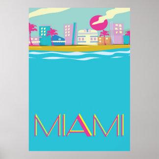 Vintages Achtzigerjahre Miami-Reiseplakat Poster
