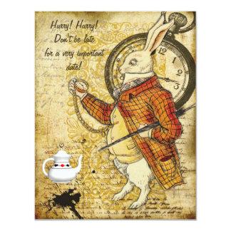 Vintages Alice im Wunderland-Kaninchen-Brautparty 10,8 X 14 Cm Einladungskarte