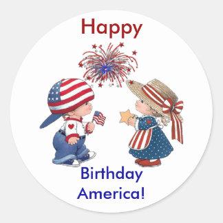 Vintages alles Gute zum Geburtstag Amerika Runder Aufkleber