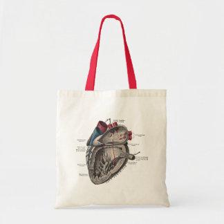 Vintages anatomisches Herz-Diagramm Budget Stoffbeutel