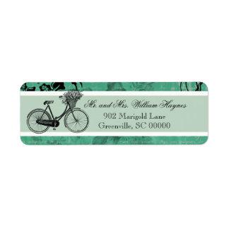 Vintages aquamarines Fahrrad-personalisierte Adres
