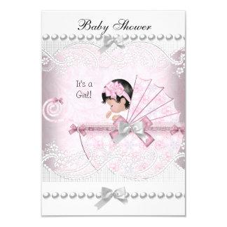 Vintages Baby-Duschen-niedliches Mädchen-hübsches 8,9 X 12,7 Cm Einladungskarte