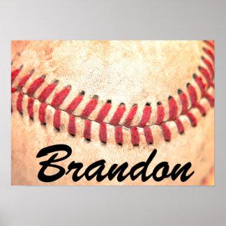 Vintages Baseball-Spieler-kundenspezifisches Poster