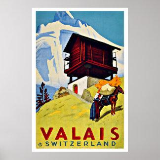 Vintages Bauernhaus Reise-Wallis die Schweiz Poster