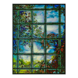 Vintages beflecktes Glas-landschaftliches Fenster Poster
