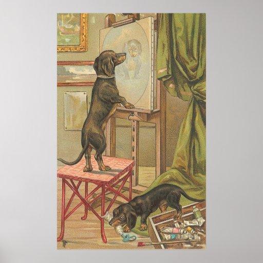 Vintages Bild - das Hündchen-Porträt Posterdrucke