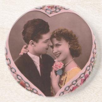 Vintages Bild der Valentinstagpaare Getränkeuntersetzer