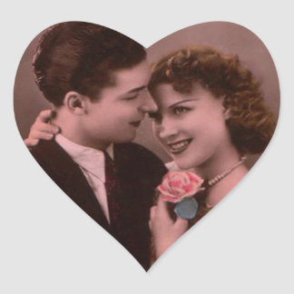Vintages Bild der Valentinstagpaare Herz-Aufkleber