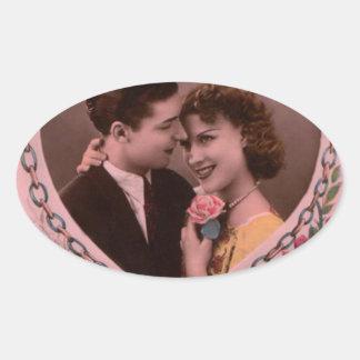 Vintages Bild der Valentinstagpaare Ovaler Aufkleber