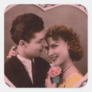 Vintages Bild der Valentinstagpaare Quadrat-Aufkleber