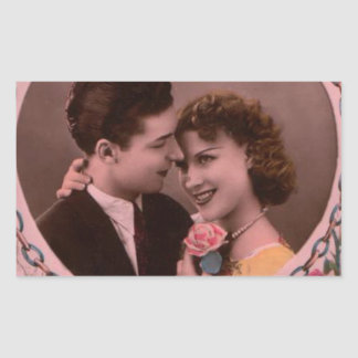 Vintages Bild der Valentinstagpaare Rechteckiger Aufkleber