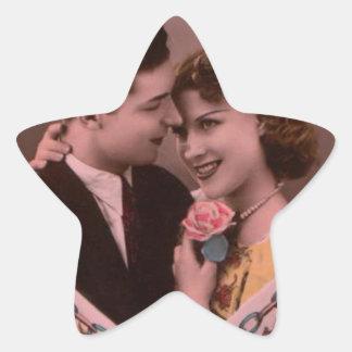 Vintages Bild der Valentinstagpaare Stern-Aufkleber