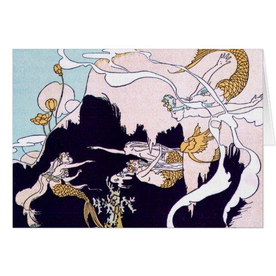 Vintages Bild - Meerjungfrauen am Spiel Karte