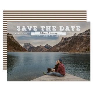 Vintages Blockschriftsepia-Foto Save the Date Karte