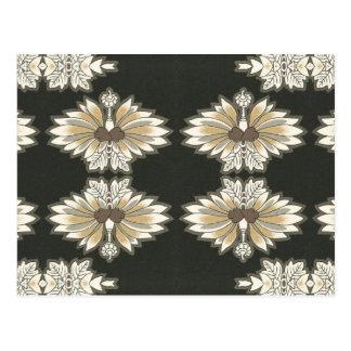 Vintages Blumen im Gold und im Schwarzen Postkarte