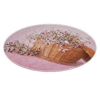 Vintages Blumen-Korb-Glasschneiden-Brett Schneidebrett