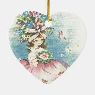 Vintages Blumen-Mädchen Keramik Herz-Ornament
