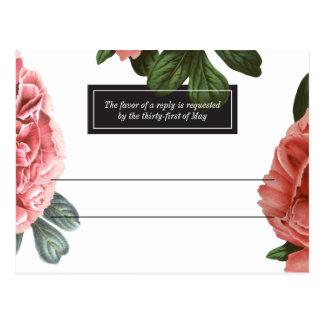 Vintages Blumen| rosa Schwarzes u. Weiß Postkarte