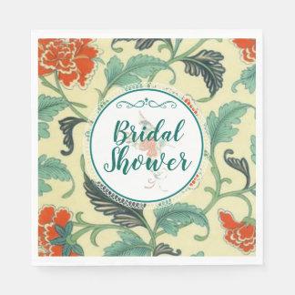 Vintages Blumen- und Kolibri-Brautparty Papierservietten