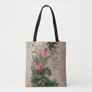 Vintages Blumengebet folge ich Thee Tasche