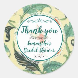 Vintages Blumenkolibri-Brautparty danken Ihnen Runder Aufkleber