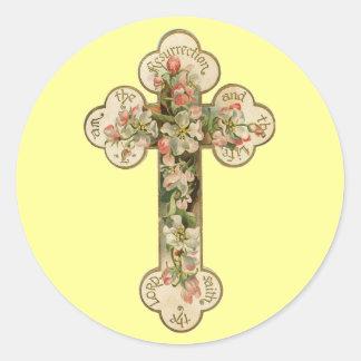 Vintages Blumenkreuz Runder Aufkleber