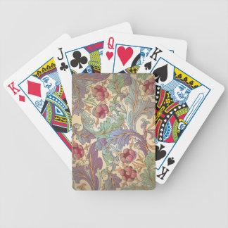 Vintages Blumenmuster - 3 Bicycle Spielkarten