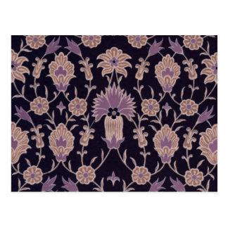 Vintages Blumenmuster - schwarzes malvenfarbenes Postkarte