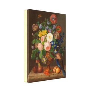 Vintages Blumenstück Georg Seitz mit Vogel Leinwanddruck