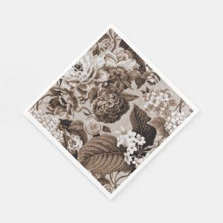 Vintages BlumenToile Gewebe No.1 Sepia-Browns Papierserviette