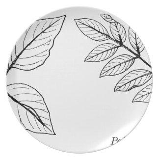 Vintages botanisches Blätter Melaminteller