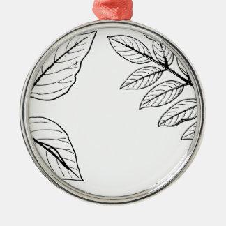 Vintages botanisches Blätter Silbernes Ornament