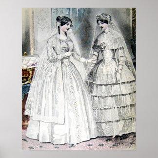 Vintages Braut-Hochzeits-Kleid Poster