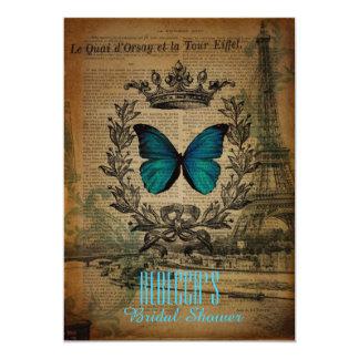 Vintages Brautparty des Eiffel-Turmschmetterlinges Karte