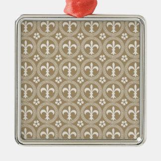 Vintages Brown und weiße Fleur Delis Quadratisches Silberfarbenes Ornament