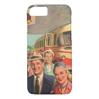 Vintages Bus-Depot mit Passagieren auf Ferien iPhone 8/7 Hülle
