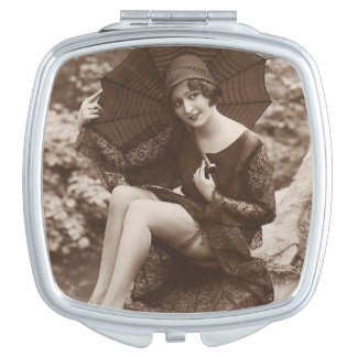 Vintages Button-oben Mädchen Schminkspiegel