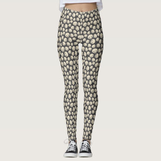 Vintages Cartoon-Schädel-Halloween-Muster Leggings