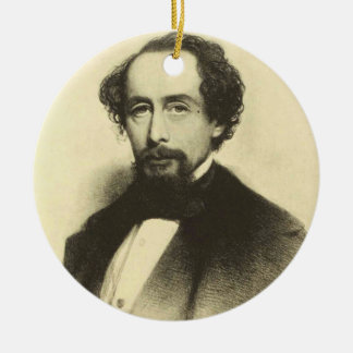 Vintages Charles- Dickensporträt Keramik Ornament