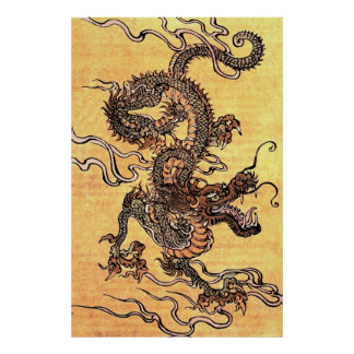 Vintages chinesisches Drache-Plakat Poster