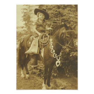 VINTAGES COWGIRL-WESTERN-PLAKAT POSTER