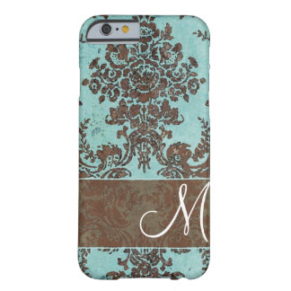Vintages Damast-Muster mit Monogramm Barely There iPhone 6 Hülle