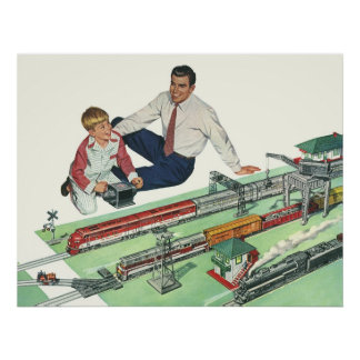 Vintages der Vatertags-, Vati-und Sohn-Spiel mit Poster