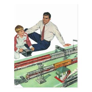 Vintages der Vatertags-, Vati-und Sohn-Spiel mit Postkarte