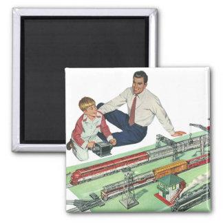 Vintages der Vatertags-, Vati-und Sohn-Spiel mit Quadratischer Magnet