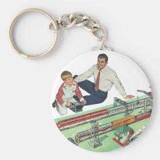 Vintages der Vatertags-, Vati-und Sohn-Spiel mit Standard Runder Schlüsselanhänger