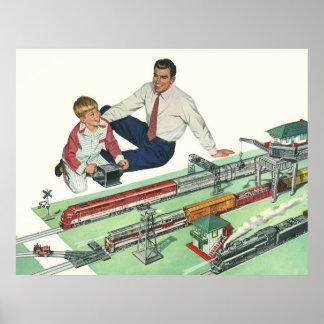 Vintages der Vatertags-, Vati-und Sohn-Spiel mit Z Plakatdrucke