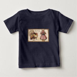 Vintages die Erntedank-Türkei-Marine-Blau Baby T-shirt