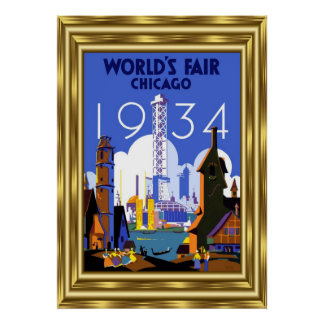 Vintages die Messe-Gold 1934 Reise-Chicago-Welt Poster