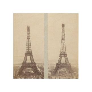 Vintages Eiffel-Turmbau-Foto Paris Holzdruck